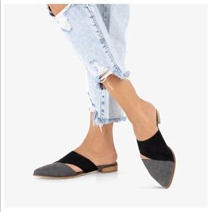 """Mi.iM """"Epic"""" Two-Toned Pointed Mule Black/Gray"""